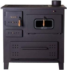 estufa de leña con horno metalic